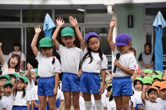 秋の幼稚園 運動会のようす